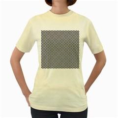 Sports Racing Chess Squares Black White Women s Yellow T-Shirt