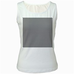 Sports Racing Chess Squares Black White Women s White Tank Top by EDDArt
