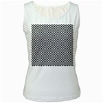 Sports Racing Chess Squares Black White Women s White Tank Top Front