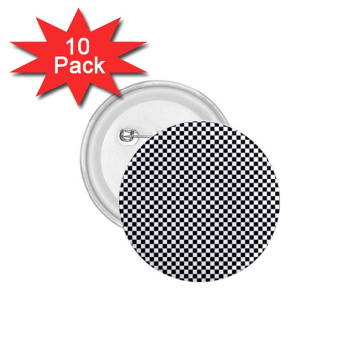 Sports Racing Chess Squares Black White 1.75  Buttons (10 pack)