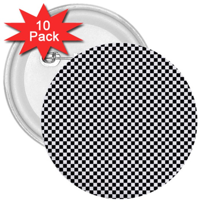 Sports Racing Chess Squares Black White 3  Buttons (10 pack)