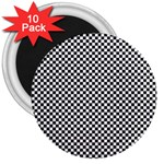 Sports Racing Chess Squares Black White 3  Magnets (10 pack)  Front
