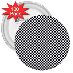 Sports Racing Chess Squares Black White 3  Buttons (100 Pack)