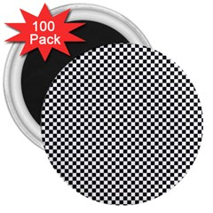 Sports Racing Chess Squares Black White 3  Magnets (100 Pack) by EDDArt