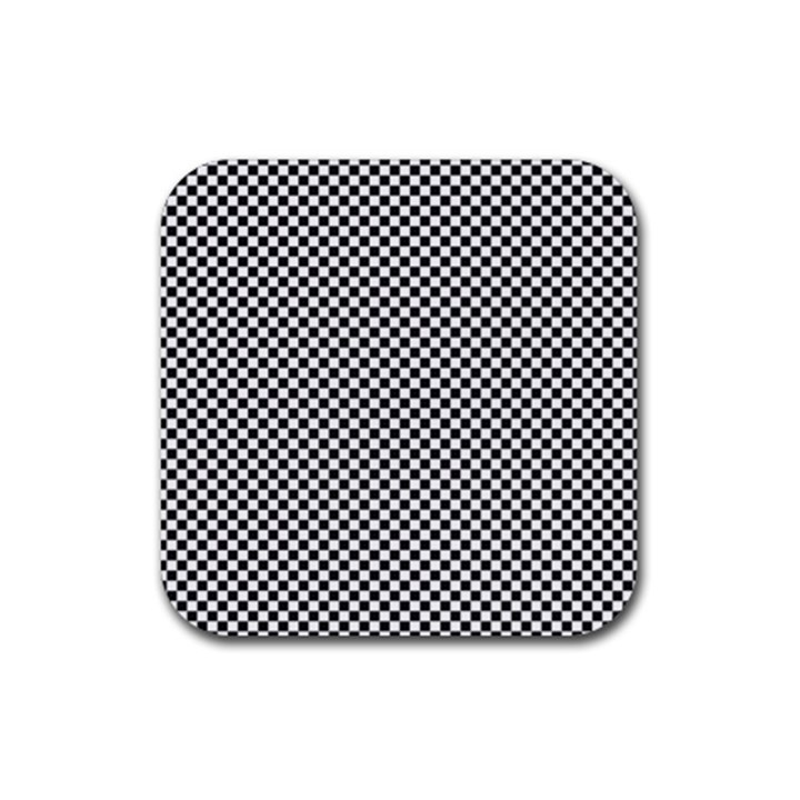 Sports Racing Chess Squares Black White Rubber Square Coaster (4 pack)