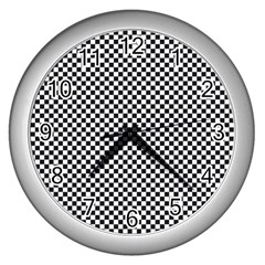 Sports Racing Chess Squares Black White Wall Clocks (silver)  by EDDArt