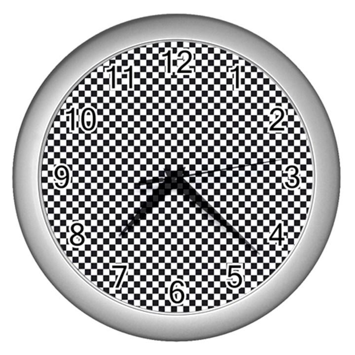 Sports Racing Chess Squares Black White Wall Clocks (Silver)
