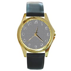 Sports Racing Chess Squares Black White Round Gold Metal Watch by EDDArt