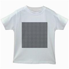 Sports Racing Chess Squares Black White Kids White T-Shirts