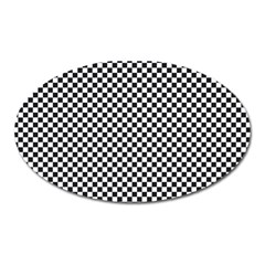 Sports Racing Chess Squares Black White Oval Magnet by EDDArt