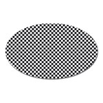 Sports Racing Chess Squares Black White Oval Magnet Front