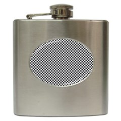Sports Racing Chess Squares Black White Hip Flask (6 Oz) by EDDArt