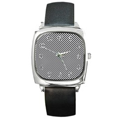 Sports Racing Chess Squares Black White Square Metal Watch by EDDArt