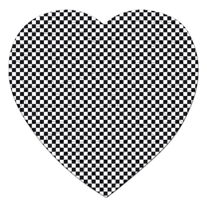 Sports Racing Chess Squares Black White Jigsaw Puzzle (Heart)