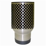 Sports Racing Chess Squares Black White Travel Mug (Silver Gray) Center