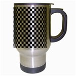 Sports Racing Chess Squares Black White Travel Mug (Silver Gray) Right