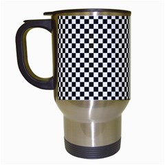 Sports Racing Chess Squares Black White Travel Mugs (white) by EDDArt