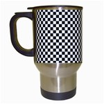 Sports Racing Chess Squares Black White Travel Mugs (White) Left