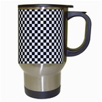 Sports Racing Chess Squares Black White Travel Mugs (White) Right
