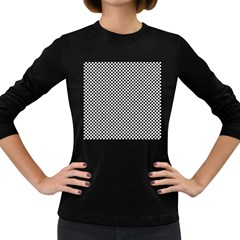 Sports Racing Chess Squares Black White Women s Long Sleeve Dark T Shirts