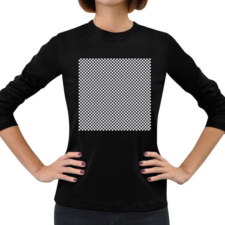 Sports Racing Chess Squares Black White Women s Long Sleeve Dark T-Shirts