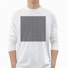 Sports Racing Chess Squares Black White White Long Sleeve T Shirts