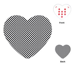Sports Racing Chess Squares Black White Playing Cards (heart)  by EDDArt