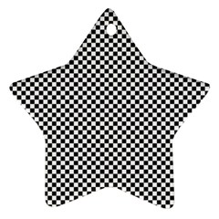 Sports Racing Chess Squares Black White Star Ornament (two Sides)  by EDDArt