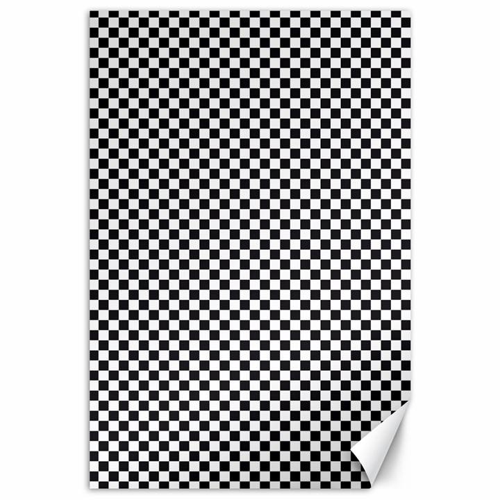 Sports Racing Chess Squares Black White Canvas 24  x 36