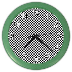 Sports Racing Chess Squares Black White Color Wall Clocks by EDDArt
