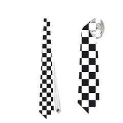 Sports Racing Chess Squares Black White Neckties (two Side)  by EDDArt