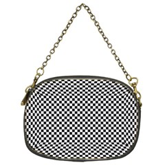 Sports Racing Chess Squares Black White Chain Purses (one Side)  by EDDArt