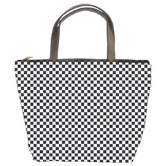 Sports Racing Chess Squares Black White Bucket Bags by EDDArt