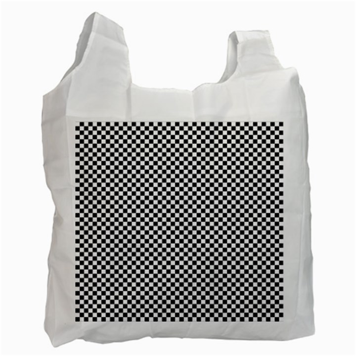 Sports Racing Chess Squares Black White Recycle Bag (One Side)