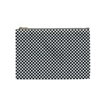 Sports Racing Chess Squares Black White Cosmetic Bag (Medium)  Front