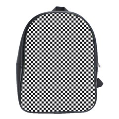 Sports Racing Chess Squares Black White School Bags(large)  by EDDArt