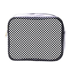 Sports Racing Chess Squares Black White Mini Toiletries Bags by EDDArt