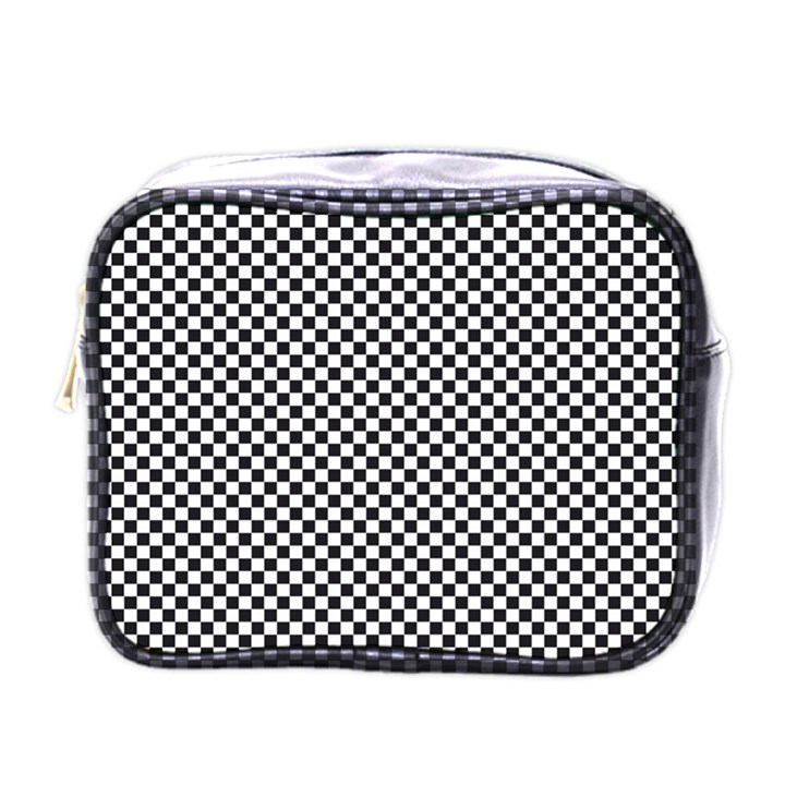 Sports Racing Chess Squares Black White Mini Toiletries Bags