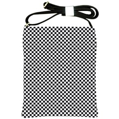 Sports Racing Chess Squares Black White Shoulder Sling Bags by EDDArt