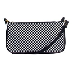Sports Racing Chess Squares Black White Shoulder Clutch Bags by EDDArt