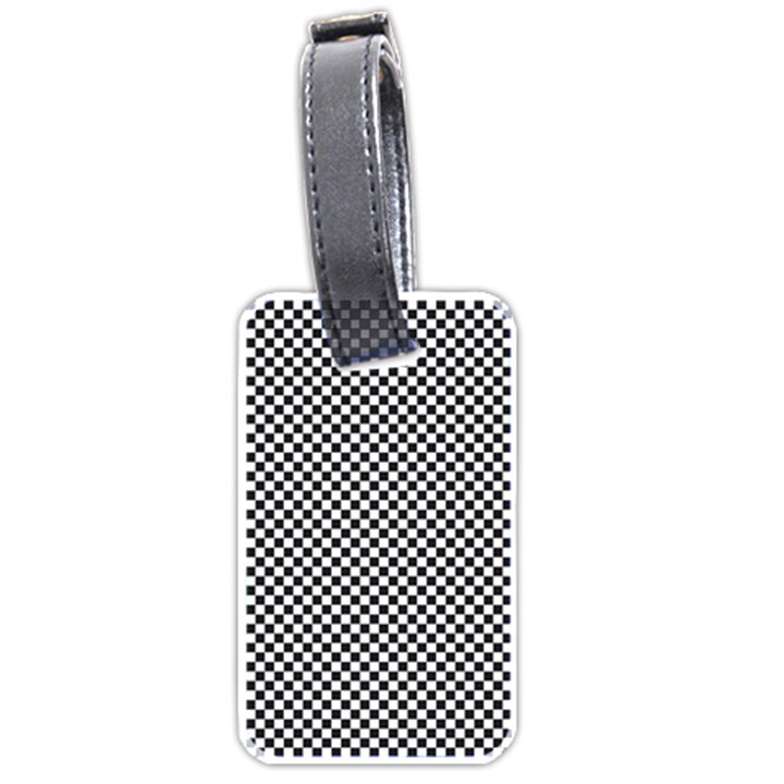 Sports Racing Chess Squares Black White Luggage Tags (Two Sides)
