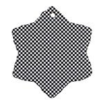Sports Racing Chess Squares Black White Ornament (Snowflake)  Front