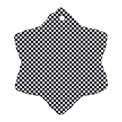 Sports Racing Chess Squares Black White Snowflake Ornament (2 Side) by EDDArt