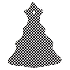 Sports Racing Chess Squares Black White Christmas Tree Ornament (2 Sides) by EDDArt