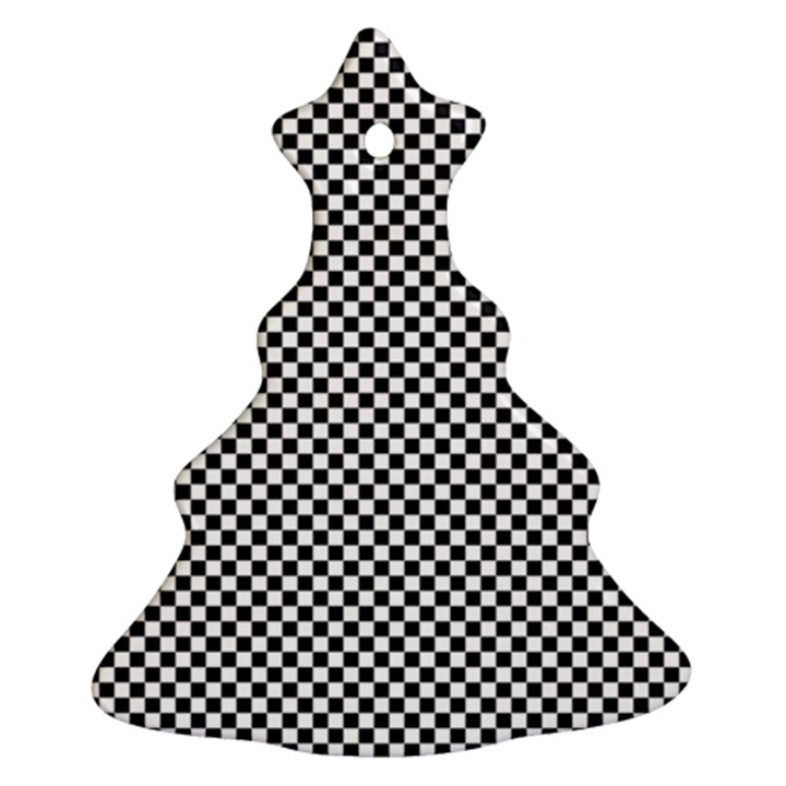 Sports Racing Chess Squares Black White Christmas Tree Ornament (2 Sides)