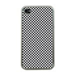 Sports Racing Chess Squares Black White Apple iPhone 4 Case (Clear) Front
