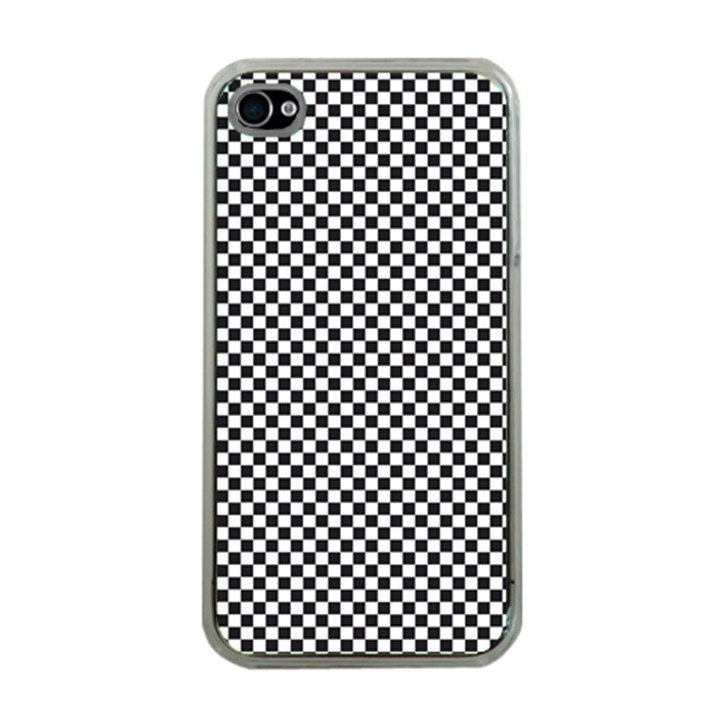 Sports Racing Chess Squares Black White Apple iPhone 4 Case (Clear)