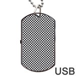 Sports Racing Chess Squares Black White Dog Tag USB Flash (Two Sides)  Front