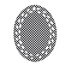 Sports Racing Chess Squares Black White Oval Filigree Ornament (2 Side)