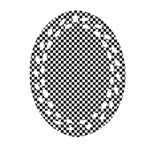 Sports Racing Chess Squares Black White Oval Filigree Ornament (2-Side)  Front